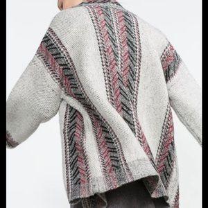 Zara knit ethnic print cardigan sweater size small
